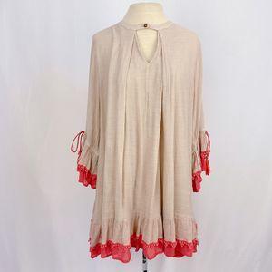 Umgee Tan & Coral Long Sleeve Dress